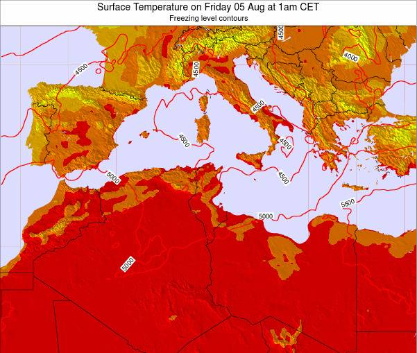 Algeria Surface Temperature on Thursday 30 May at 1am CET