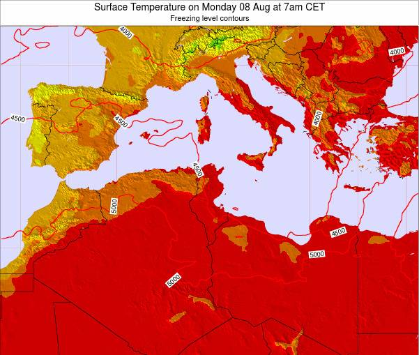 Algeria Surface Temperature on Thursday 30 May at 7pm CET