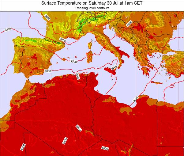 Algeria Surface Temperature on Sunday 26 May at 7pm CET