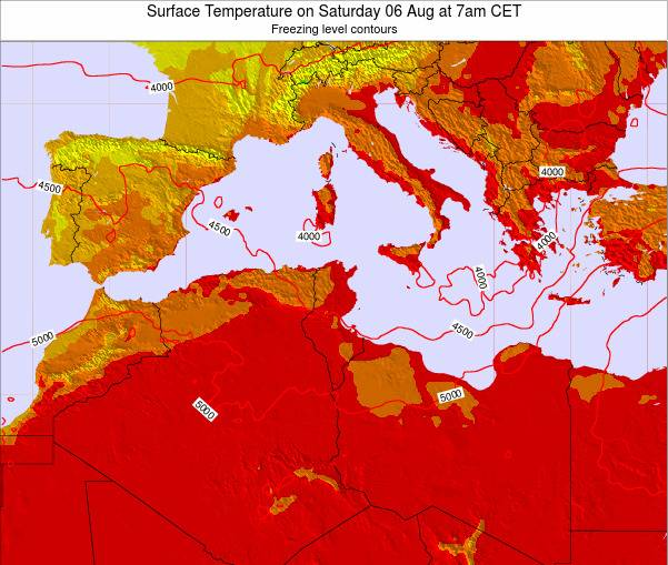 Algeria Surface Temperature on Tuesday 21 May at 7pm CET
