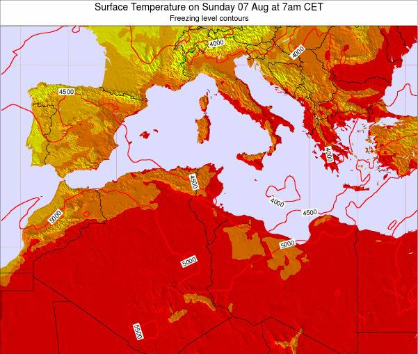 Algeria Surface Temperature on Sunday 26 May at 7am CET