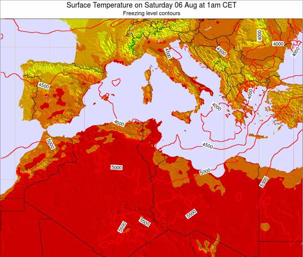 Tunisia Surface Temperature on Wednesday 22 May at 7am CET
