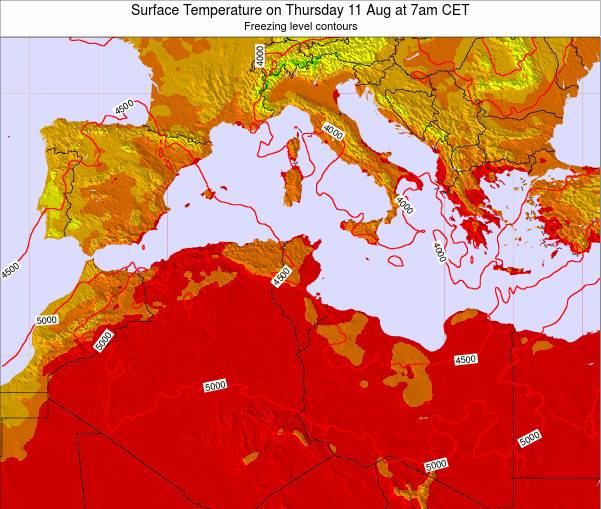 Algeria Surface Temperature on Monday 27 May at 1pm CET