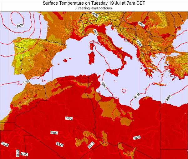 Algeria Surface Temperature on Friday 24 May at 7pm CET