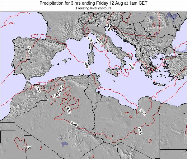 Tunisia Precipitation for 3 hrs ending Sunday 27 Apr at 7pm CET