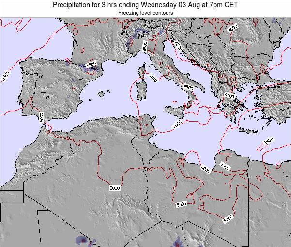 Tunisia Precipitation for 3 hrs ending Monday 09 Dec at 1pm CET