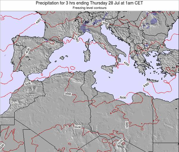 Tunisia Precipitation for 3 hrs ending Monday 04 Aug at 1pm CET