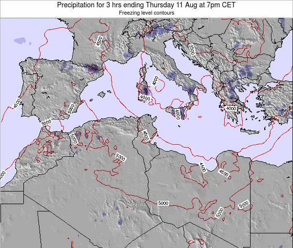 Tunisia Precipitation for 3 hrs ending Tuesday 04 Aug at 7pm CET