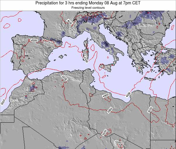 Tunisia Precipitation for 3 hrs ending Monday 28 Apr at 1pm CET