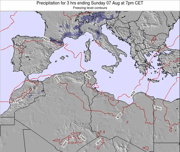 Tunisia Precipitation for 3 hrs ending Sunday 15 Dec at 1pm CET