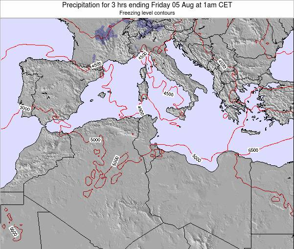 Tunisia Precipitation for 3 hrs ending Wednesday 06 Aug at 1am CET