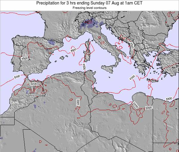 Tunisia Precipitation for 3 hrs ending Tuesday 25 Jun at 1pm CET map