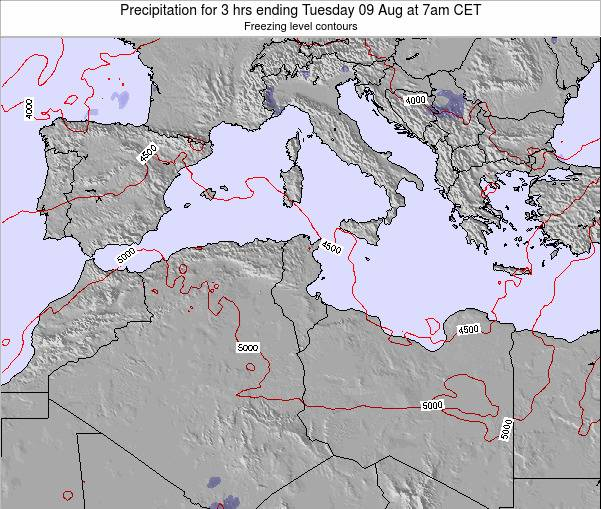 Tunisia Precipitation for 3 hrs ending Monday 27 May at 1pm CET map