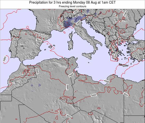 Tunisia Precipitation for 3 hrs ending Wednesday 22 May at 7pm CET map