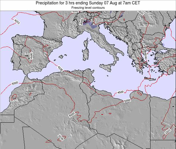 Tunisia Precipitation for 3 hrs ending Friday 21 Jun at 7pm CET map