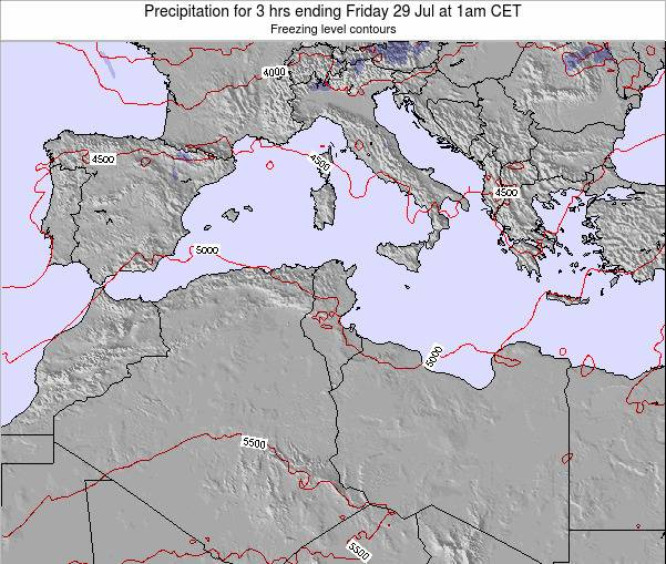 Tunisia Precipitation for 3 hrs ending Sunday 26 May at 1pm CET map