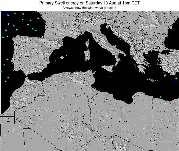 Algeria Primary Swell energy on Tuesday 27 Mar at 7am CET map