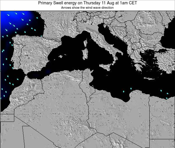 Algeria Primary Swell energy on Thursday 28 Jun at 7am CET map