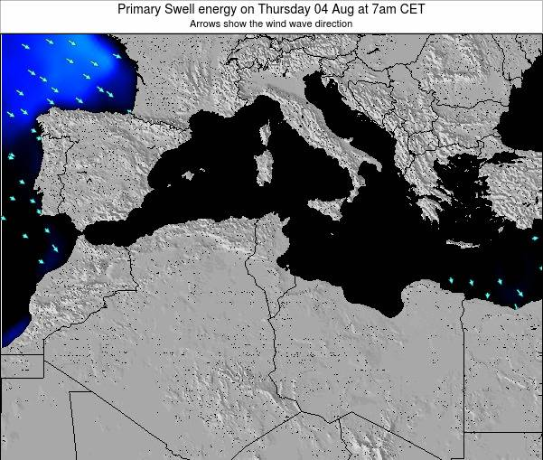 Algeria Primary Swell energy on Tuesday 20 Mar at 7am CET map