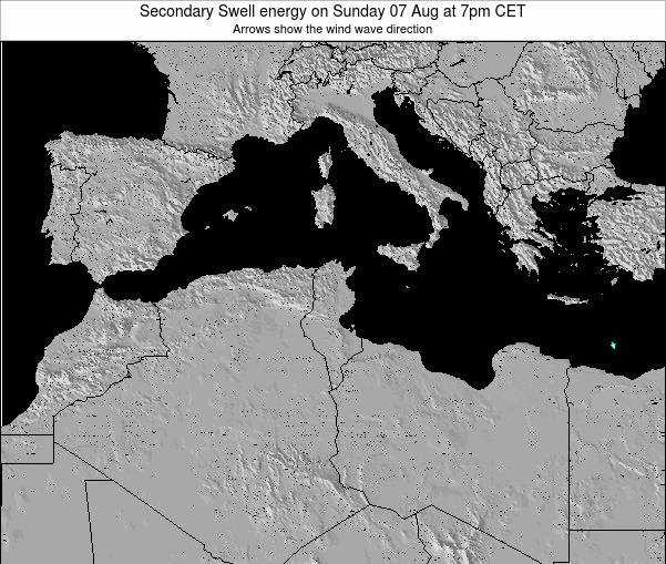 Tunisia Secondary Swell energy on Monday 28 Jul at 7pm CET