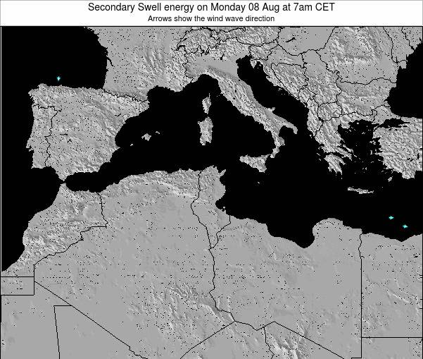 Tunisia Secondary Swell energy on Saturday 02 Aug at 1pm CET