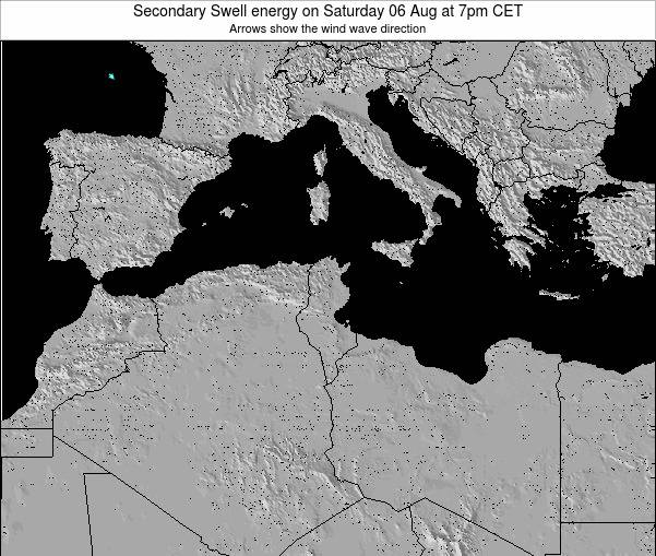 Tunisia Secondary Swell energy on Tuesday 11 Mar at 1pm CET