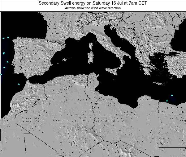 Tunisia Secondary Swell energy on Tuesday 23 Dec at 1am CET