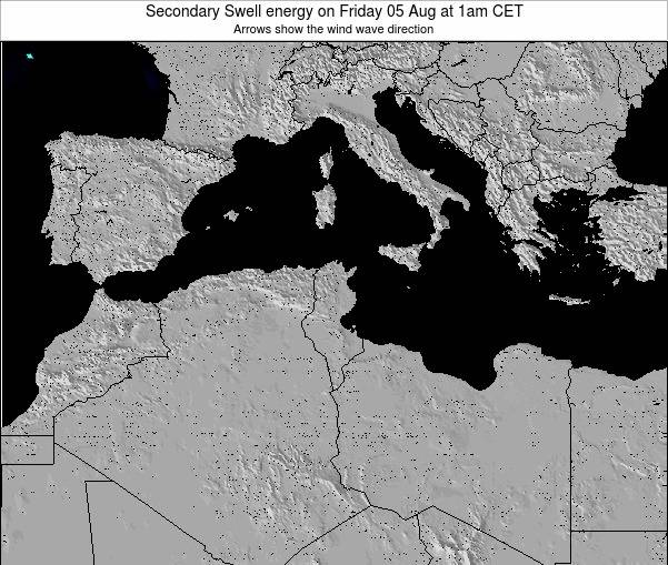Tunisia Secondary Swell energy on Thursday 31 Jul at 1am CET