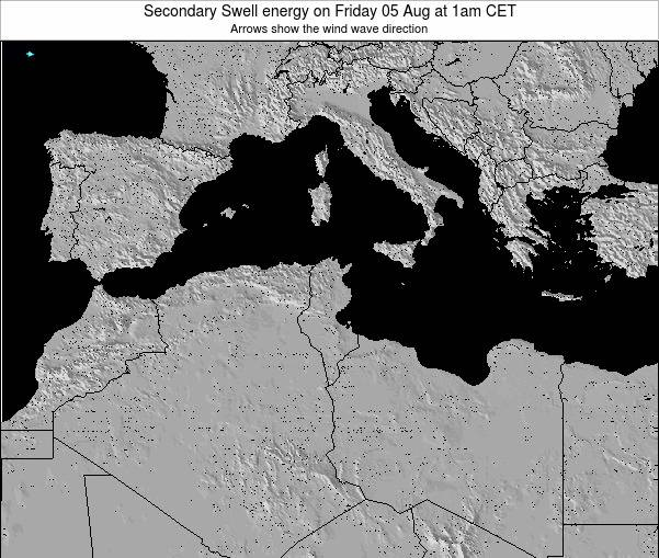 Tunisia Secondary Swell energy on Monday 10 Mar at 1pm CET