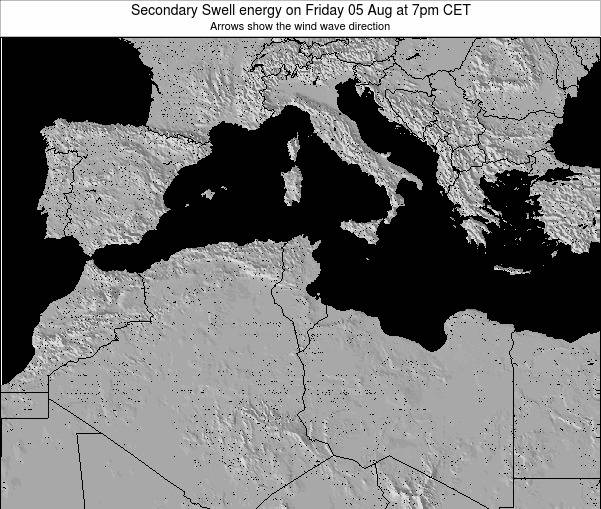 Tunisia Secondary Swell energy on Tuesday 05 Aug at 1pm CET