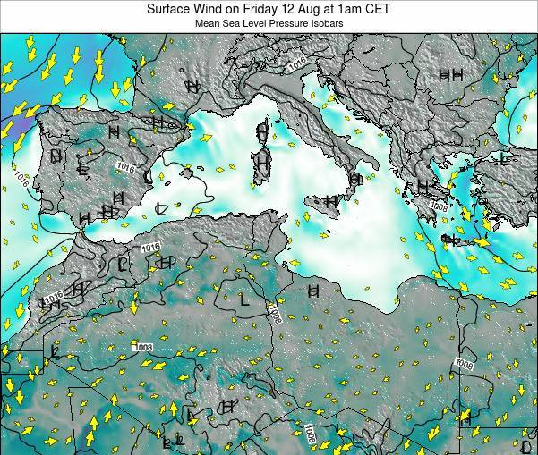 Algeria Surface Wind on Thursday 27 Jun at 1am CET