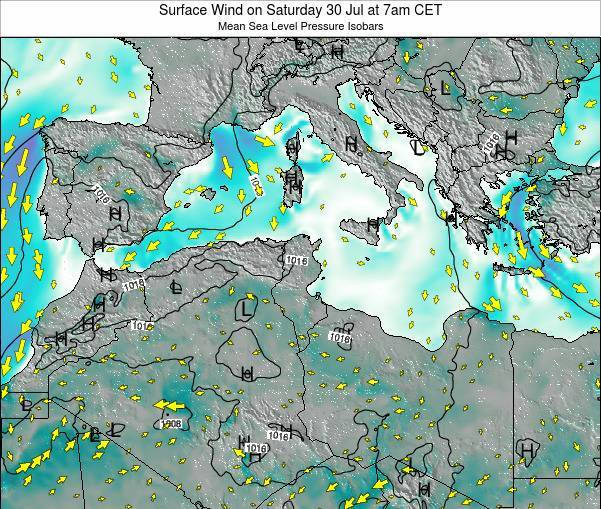 Tunisia Surface Wind on Thursday 24 Jul at 7am CET