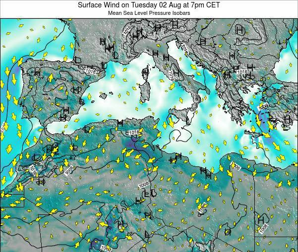 Tunisia Surface Wind on Sunday 08 Dec at 7pm CET
