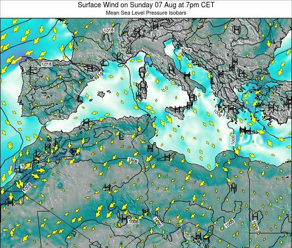 Tunisia Surface Wind on Saturday 08 Mar at 7pm CET