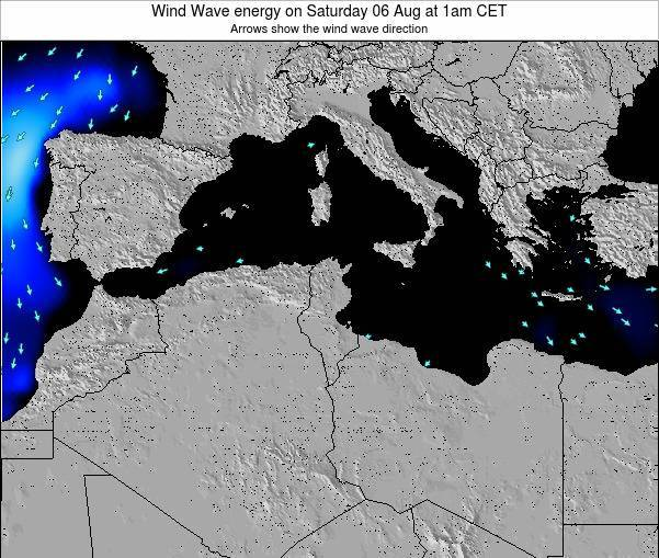 Algeria Wind Wave energy on Monday 26 Feb at 1am CET map
