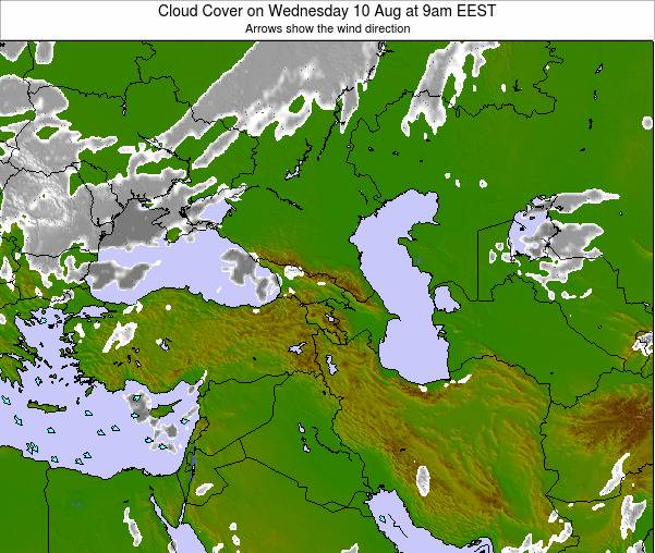 Turkey Cloud Cover on Monday 27 May at 9am EEST map
