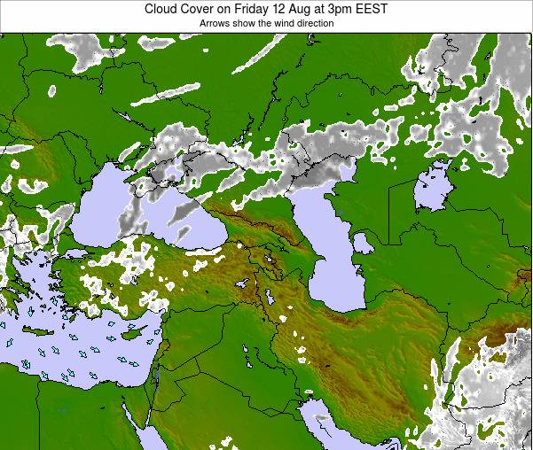 Turkey Cloud Cover on Saturday 25 May at 3am EEST map