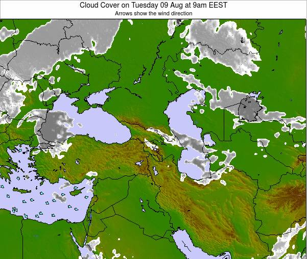 Turkey Cloud Cover on Saturday 22 Jun at 9am EEST map