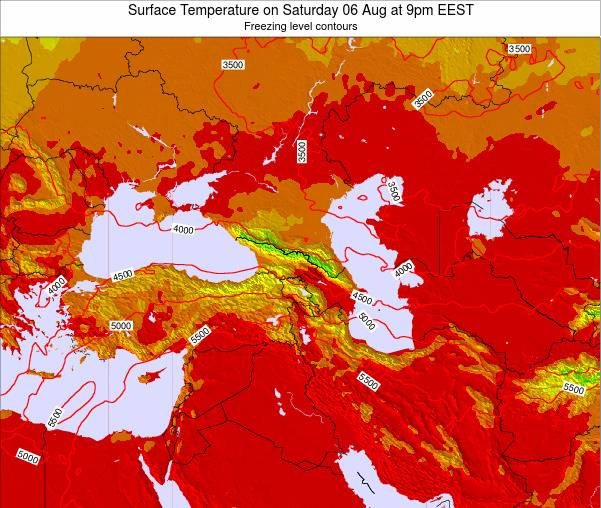 Turkey Surface Temperature on Monday 28 Jul at 9am EEST map