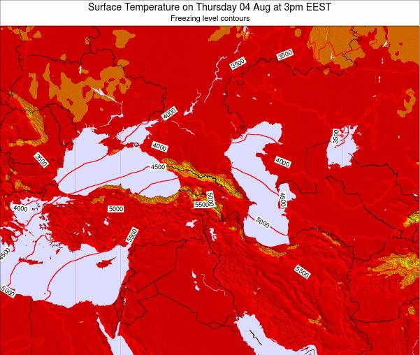 Turkey Surface Temperature on Wednesday 23 Jul at 9am EEST map