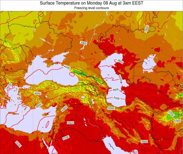 Turkey Surface Temperature on Monday 21 Apr at 9am EEST map