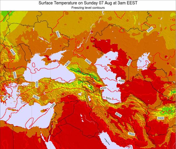 Turkey Surface Temperature on Saturday 08 Mar at 8pm EET map