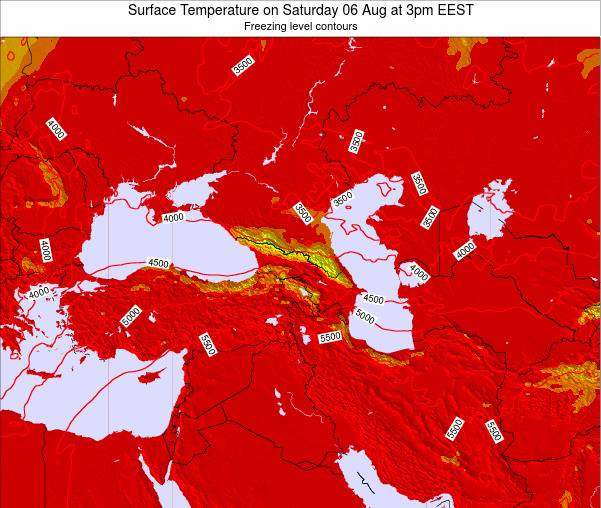 Turkey Surface Temperature on Friday 06 Dec at 8pm EET map