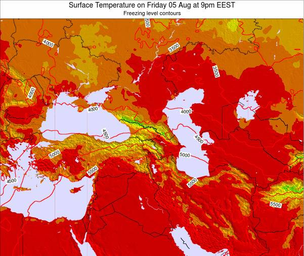Turkey Surface Temperature on Thursday 24 Apr at 3pm EEST map