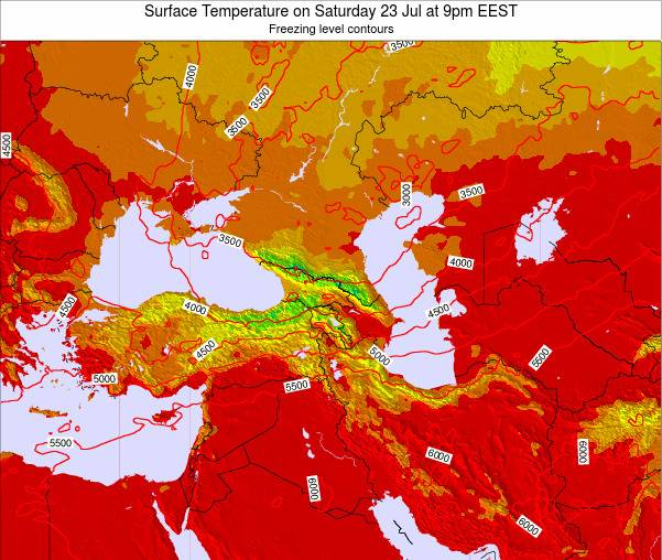 Turkey Surface Temperature on Wednesday 29 May at 9pm EEST map
