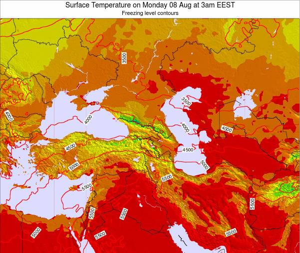 Turkey Surface Temperature on Friday 21 Jun at 3am EEST map