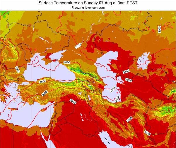 Turkey Surface Temperature on Friday 25 Jul at 3pm EEST map