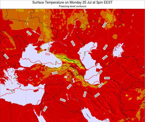 Turkey Surface Temperature on Saturday 26 Apr at 3pm EEST map