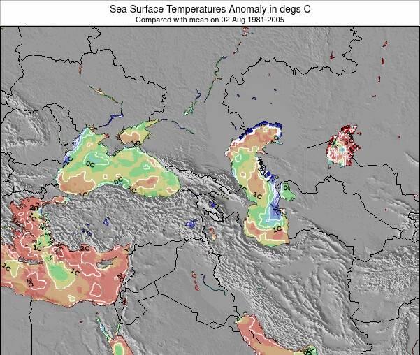 Chypre Anomalies de Température de la Mer Carte