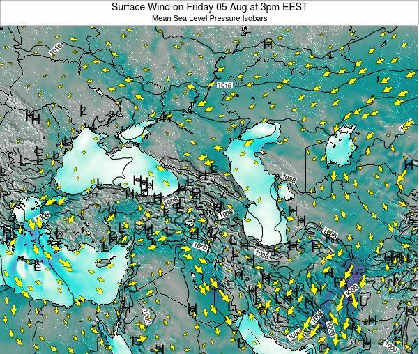 Turkey Surface Wind on Saturday 25 May at 9pm EEST map